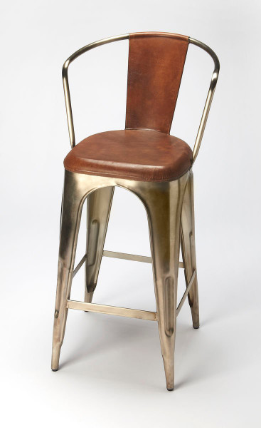 "Butler Roland Iron & Leather Barstool 6130344 ""Special"""