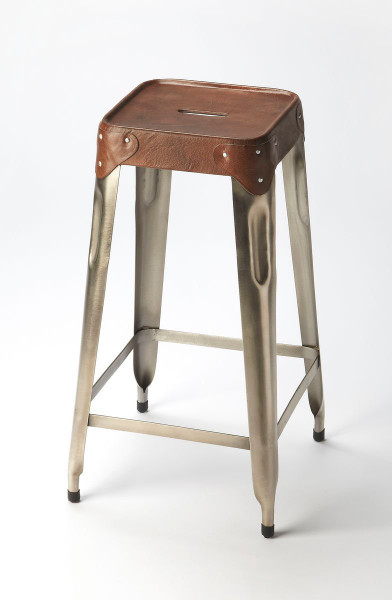 Butler Connor Iron & Leather Barstool 6134344