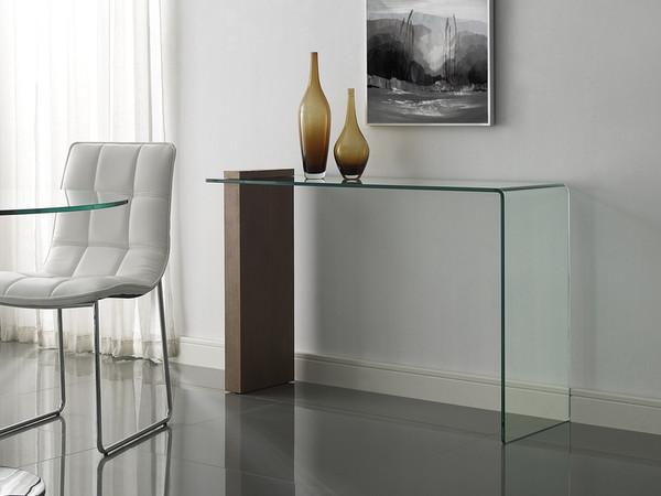 Buono Walnut Veneer Console Table W/ Clear Glass CB-1154-CONSOLE-WAL
