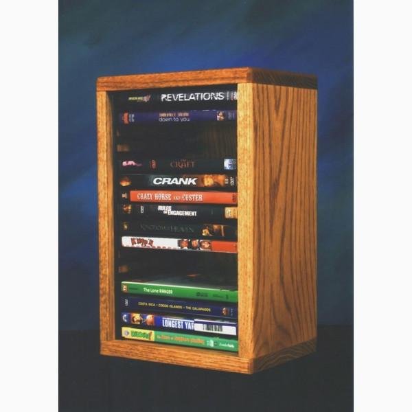 110-1 DVD Wood Shed Solid Oak Desktop Or Shelf DVD Cabinet