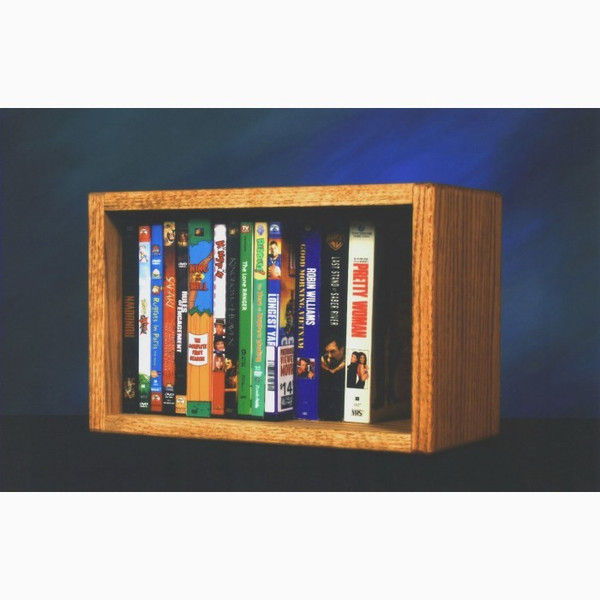 110-1 W Wood Shed Solid Oak Desktop Or Shelf DVD/VHS Cabinet
