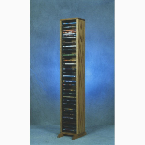 110-4 DVD Wood Shed Solid Oak Tower For DVD's