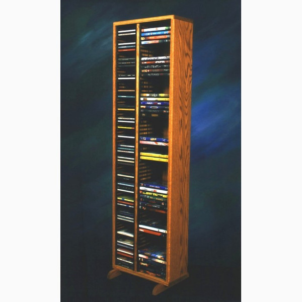 211-4 CD/DVD Wood Shed Solid Oak Tower For CD's And DVD's