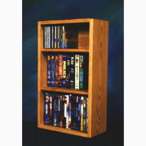 313-1 W Wood Shed Solid Oak Desktop/Shelf For CD's & DVD's/ VHS Tapes