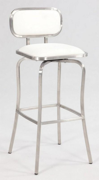 Chintaly White Modern Swivel Bar Stool - Brushed Steel 1192-BS-WHT