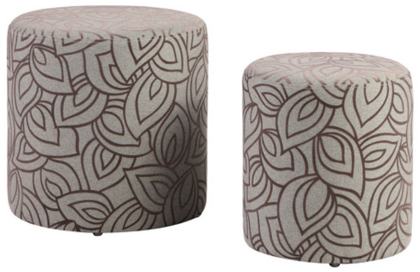 2 Piece Round Ottoman Set With Leaf Pattern 5009-OT-GRY By Chintaly