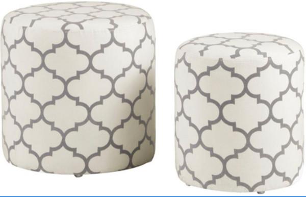 2 Piece Round Ottoman Set With Geometric Pattern 5009-OT-WHT