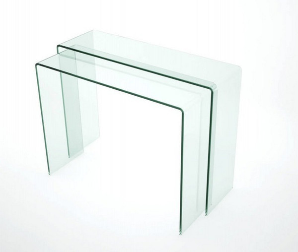 Chintaly Nested Bent Clear Glass Sofa Tables - 6006-ST