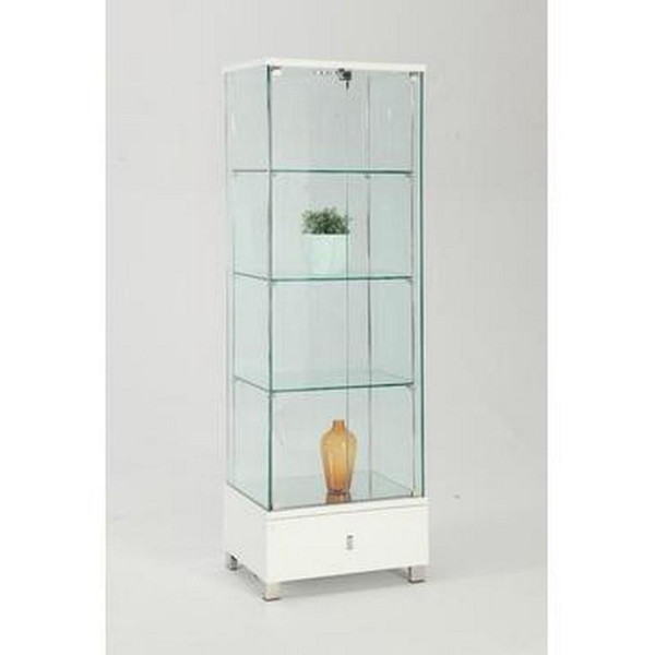 Chintaly Gloss White Glass Curio - 6628-CUR-WHT