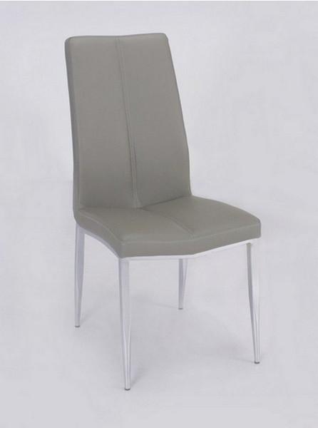 Abigail Side Chair W/ Chrome Legs, Grey PU - Set of 4 - ABIGAIL-SC-GRY