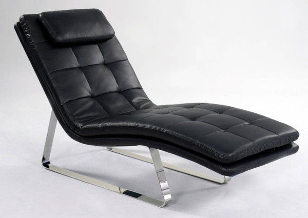 Black Chrome Full Bonded Leather Chaise Lounge CORVETTE-LNG-BLK