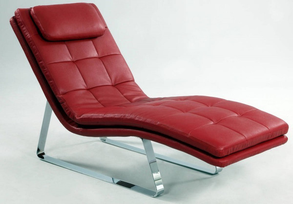 Red Chrome Full Bonded Leather Chaise Lounge CORVETTE-LNG-RED