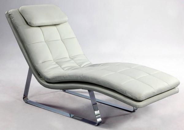 White Chrome Full Bonded Leather Chaise Lounge CORVETTE-LNG-WHT