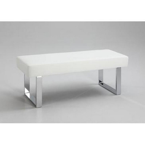 Chintaly White White Pu Long Bench - Chrome LINDEN-BCH-WHT