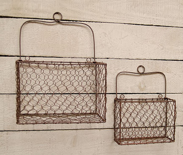 Chicken Wire Wall Basket (Set Of 2) G11381AB By CWI Gifts