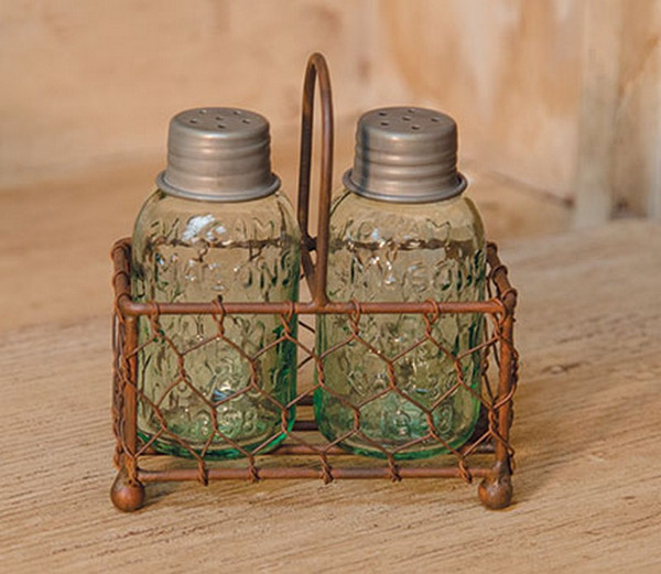 Chicken Wire Caddy With Shakers G11426 By CWI Gifts