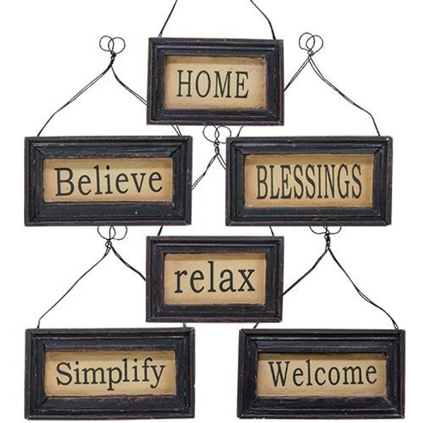 Black Framed Signs W/Hanger Assorted. Set Of 6 G13059 By CWI Gifts