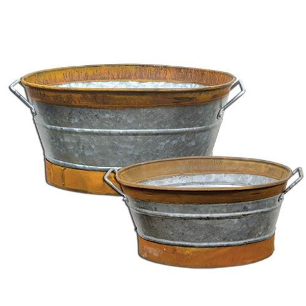 Rusty Galvanized Buckets (Set Of 2) G15112RR By CWI Gifts