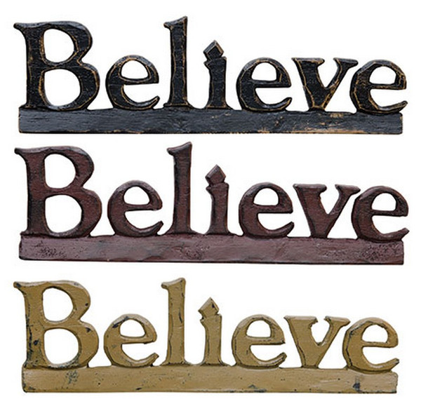 Believe Resin Sign - Assorted Set Of 3 G16012 By CWI Gifts