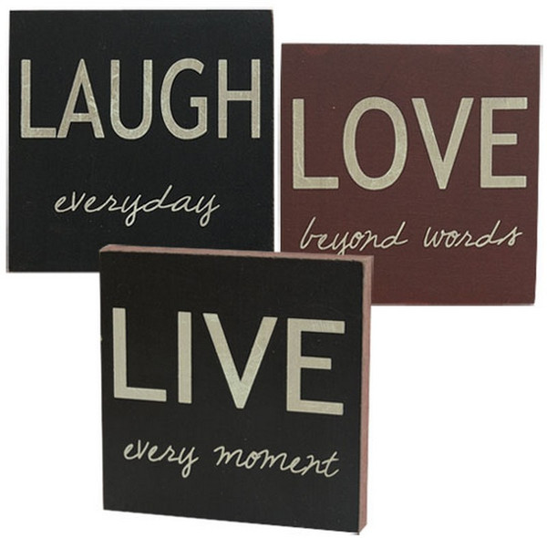 Live Laugh Love Mini Block Signs - Assorted Set Of 3 G32345 By CWI Gifts
