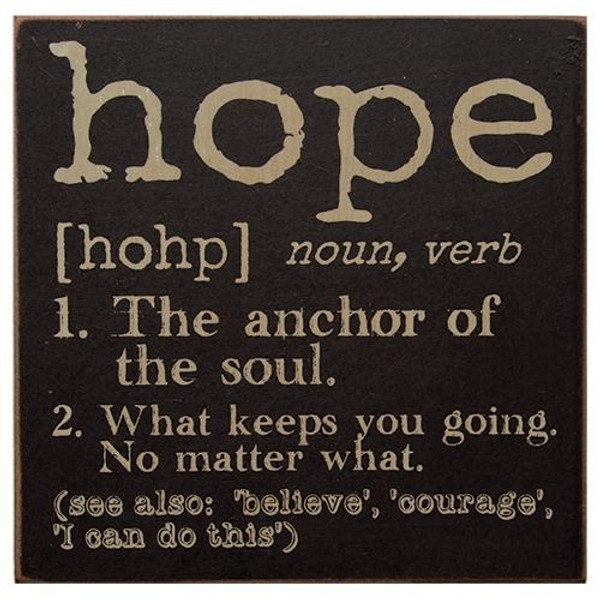 Hope Definition Sign (Pack Of 5) G32629 By CWI Gifts