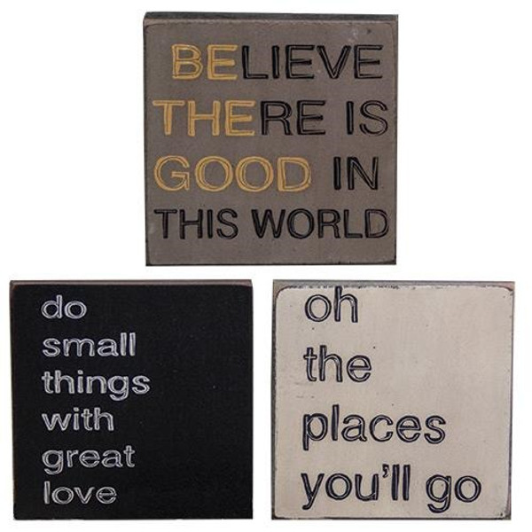 """Be The Good Square Sign - 4"""" - Assorted Set Of 3 G32780 By CWI Gifts"""