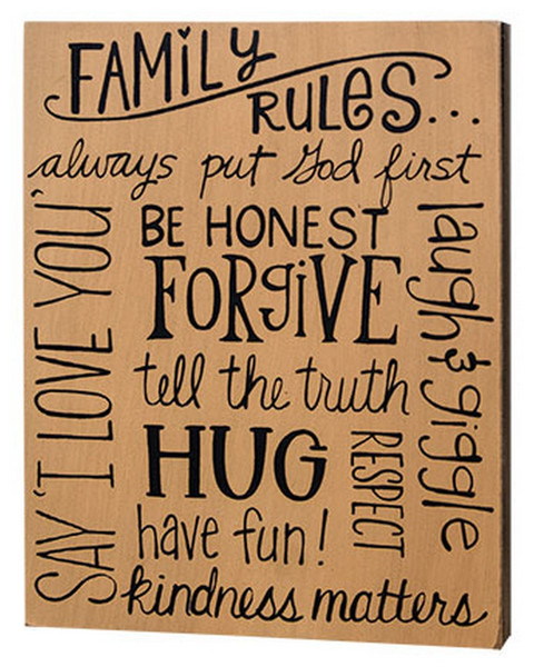Family Rules Box Sign G32996 By CWI Gifts