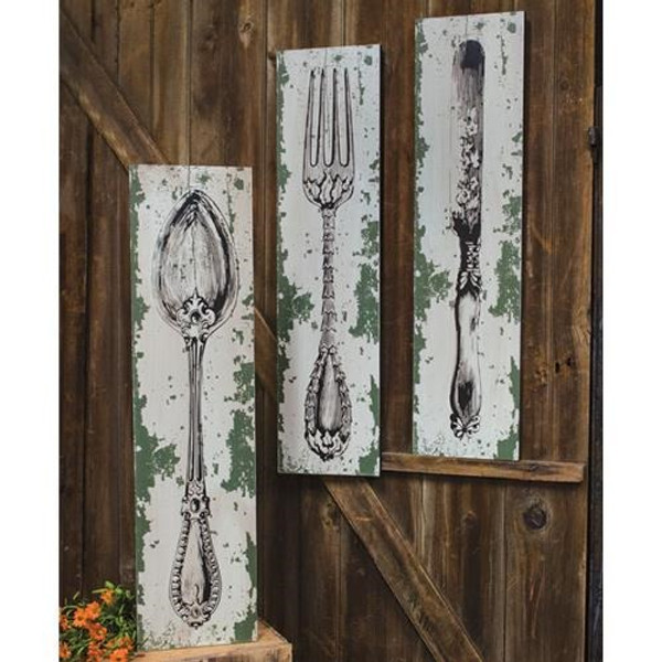 Knife Fork Spoon Sign - Assorted Set Of 3 G33482 By CWI Gifts