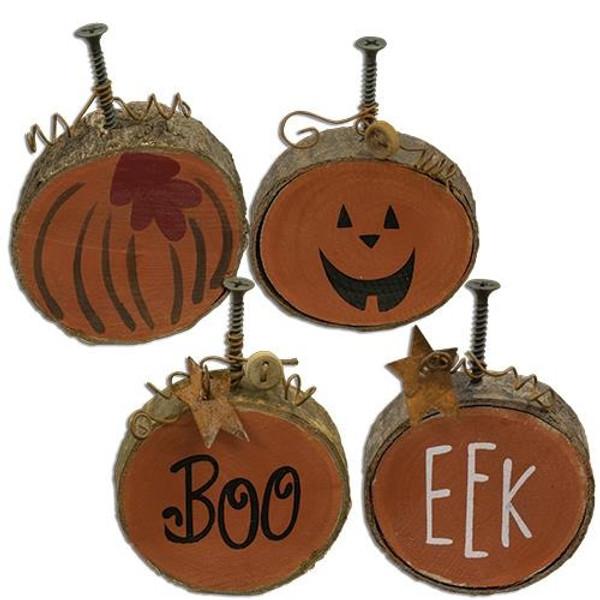 Set/4, Boo, Eek Pumpkins G33714 By CWI Gifts