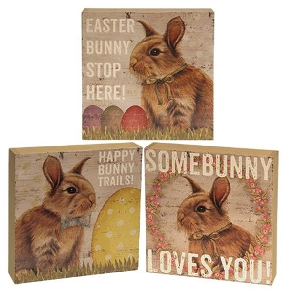 Easter Bunny Box Sign Assorted Set Of 3 G33961 By CWI Gifts