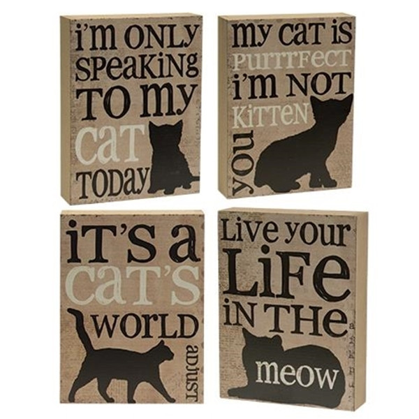 Cat'S World Box Sign - Assorted. Set Of 4 G33967 By CWI Gifts