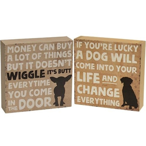 Lucky Dog Box Sign Assorted. Set Of 2 G33973 By CWI Gifts