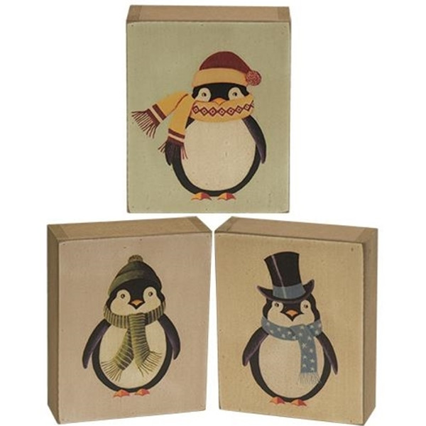 Penguin Box Sign Assorted Set Of 3 G34021 By CWI Gifts