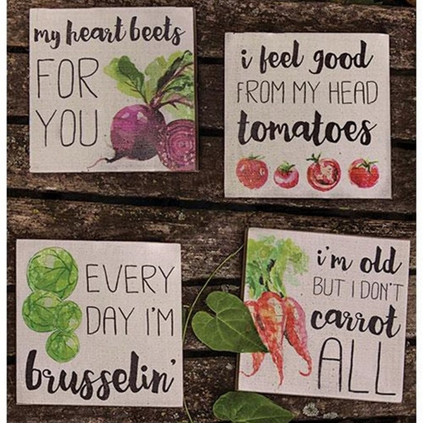 Heart Beets Block Sign Assorted. Set Of 4 G34086 By CWI Gifts