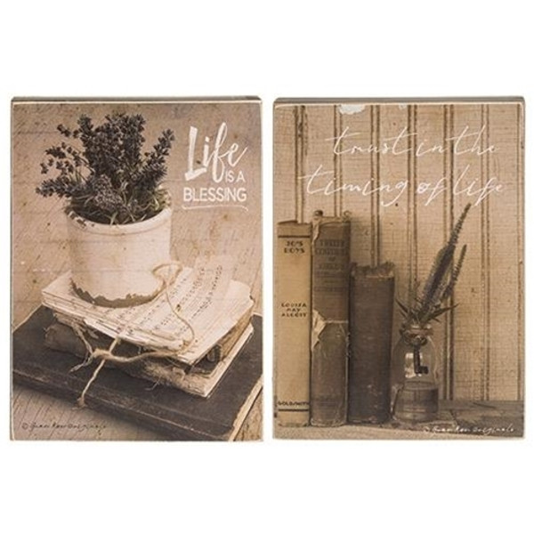 Life Is A Blessing Box Sign Assorted. Set Of 2 G34094 By CWI Gifts