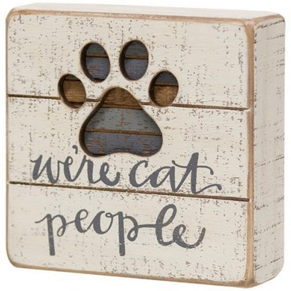 Cat People Slat Box Sign G38233 By CWI Gifts