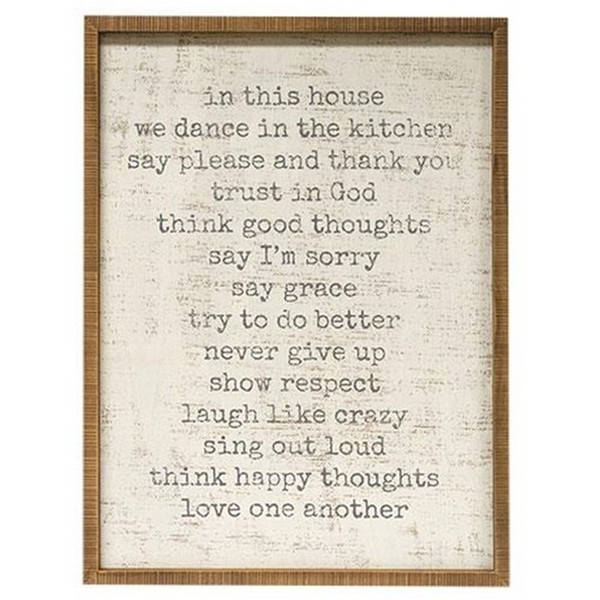 In This House Rustic Framed Sign G38488 By CWI Gifts