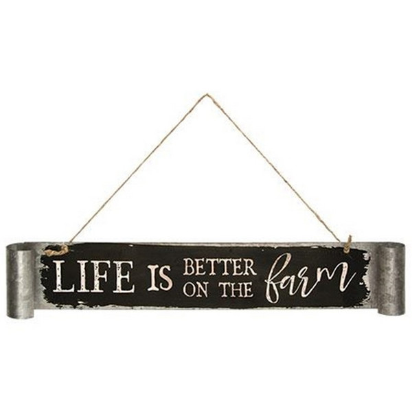 Life Is Better On The Farm Galvanized Metal Sign G65083 By CWI Gifts
