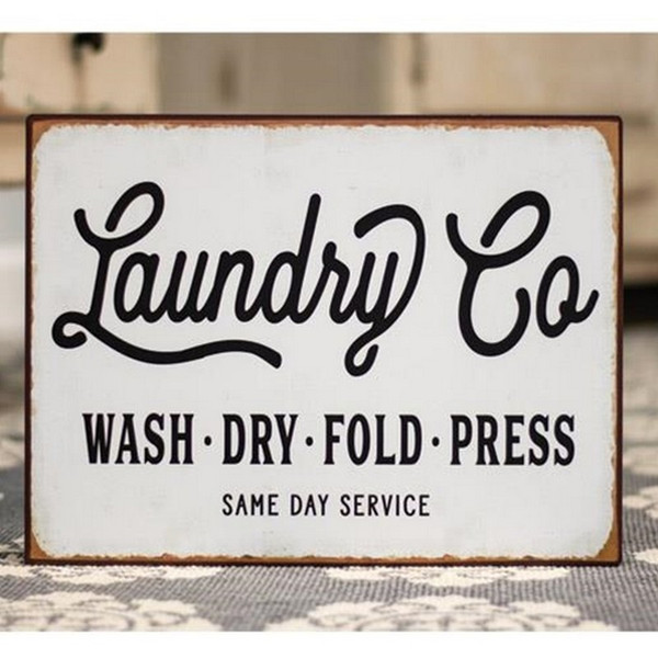 Laundry Co. Distressed Metal Sign G65085 By CWI Gifts