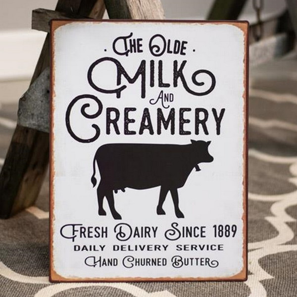 The Olde Milk & Creamery Distressed Metal Sign G65086 By CWI Gifts