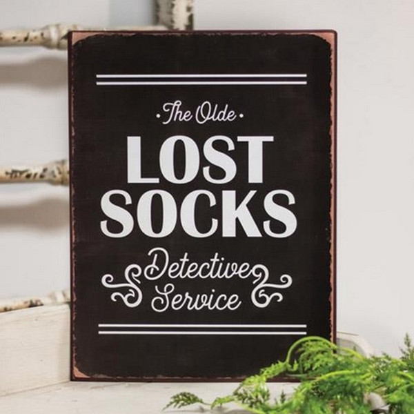 Lost Socks Detective Service Distressed Metal Sign G65088 By CWI Gifts