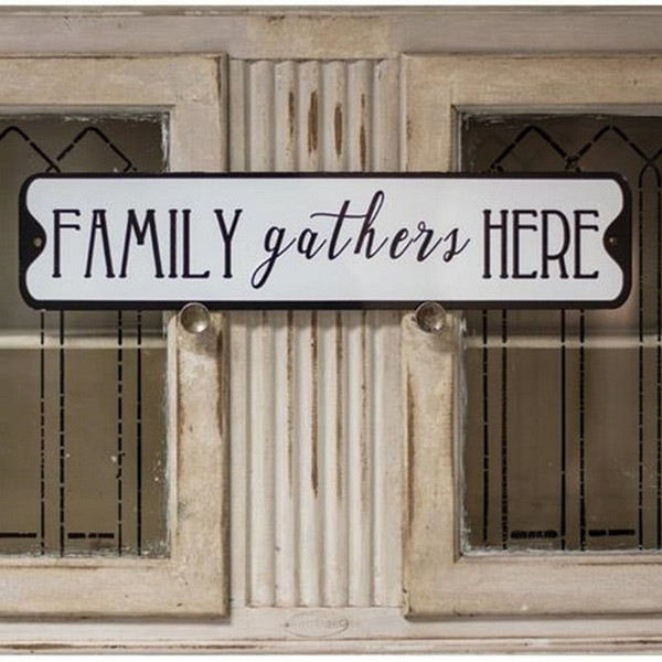 Family Gathers Here Metal Street Sign G65089 By CWI Gifts