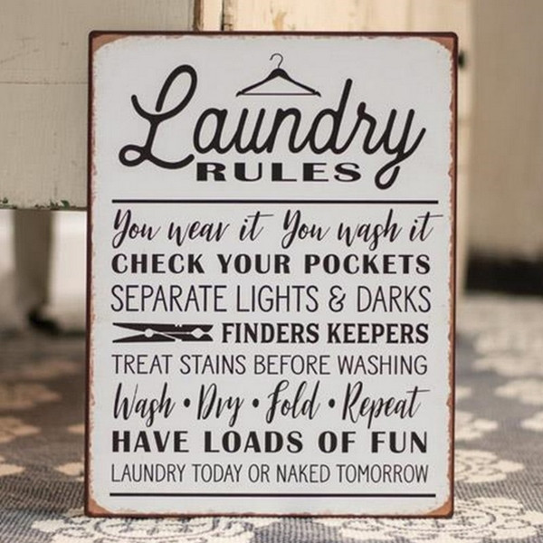 Laundry Rules Distressed Metal Sign G65090 By CWI Gifts