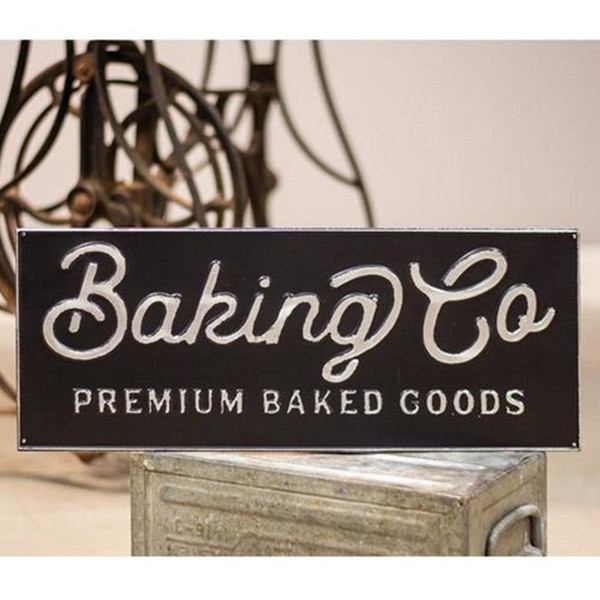 Black And Galvanized Metal Baking Co Sign G65100 By CWI Gifts