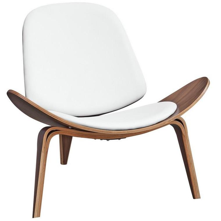 Three Legged Shell Chair - White FMI1162 by Fine Mod Imports