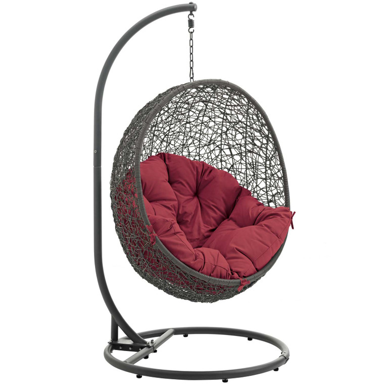 Modway Hide Outdoor Patio Swing Chair - Gray/Red EEI-2273-GRY-RED