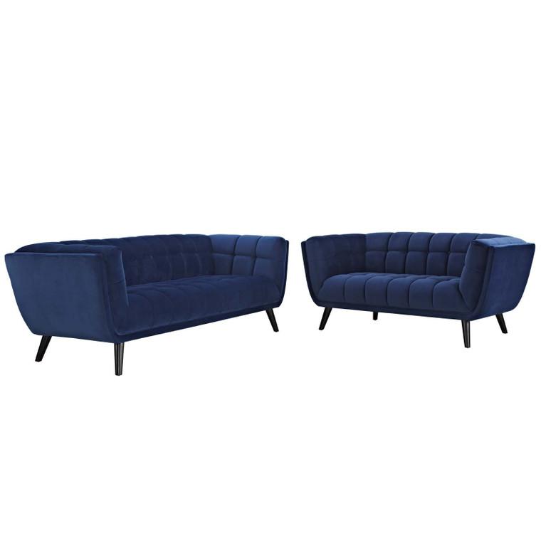 EEI-2979-NAV-SET Bestow 2 Piece Velvet Sofa And Loveseat Set By Modway