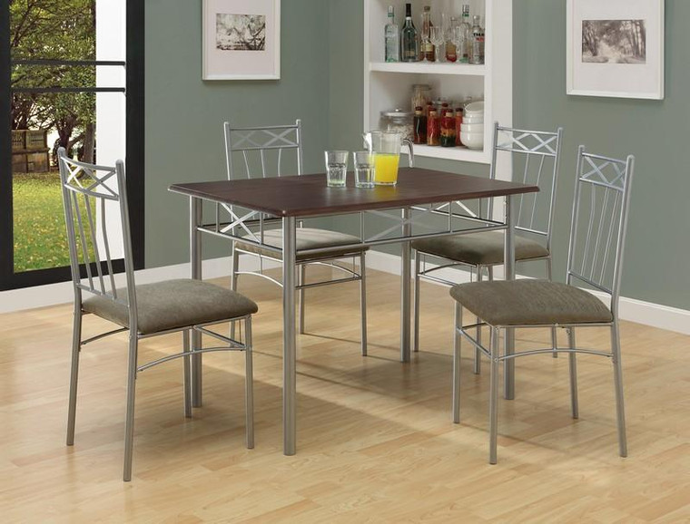 Monarch Dining Set - 5 Piece Set - Cappuccino - Silver Metal I 1020