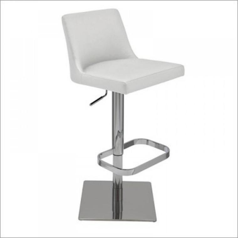 Nuevo Contemporary White Leather Rome Adjustable Stool HGAR193