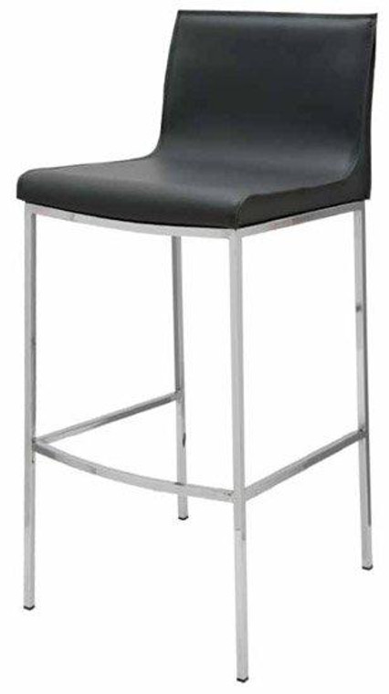 Nuevo Contemporary Black Leather Rectangle Colter Bar Stool HGAR303